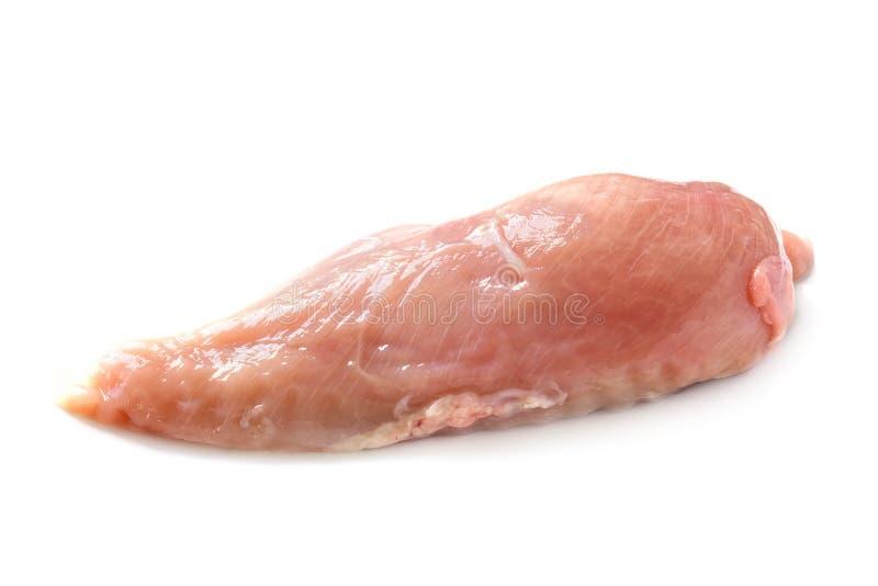 Ακατέργαστη λωρίδα στηθών κοτόπουλου, αδύνατο κρέας πουλερικών που απομονώνεται στο λευκό στοκ φωτογραφία με δικαίωμα ελεύθερης χρήσης