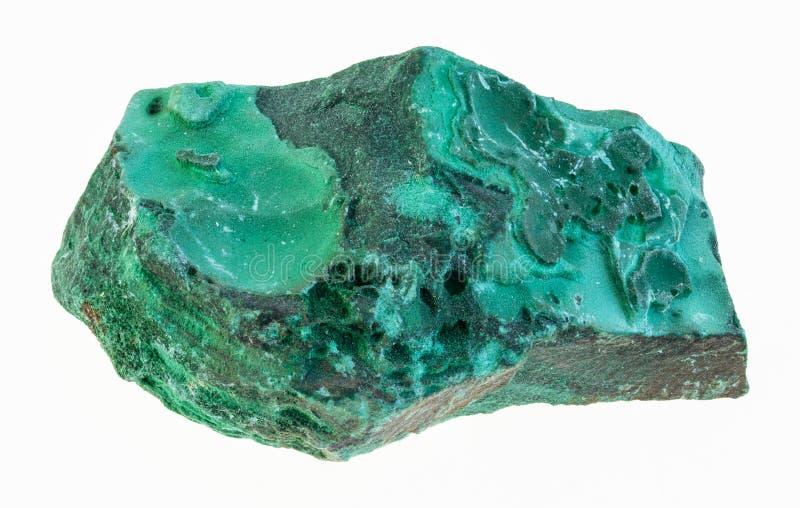 ακατέργαστη malachite πέτρα στο λευκό στοκ φωτογραφίες με δικαίωμα ελεύθερης χρήσης
