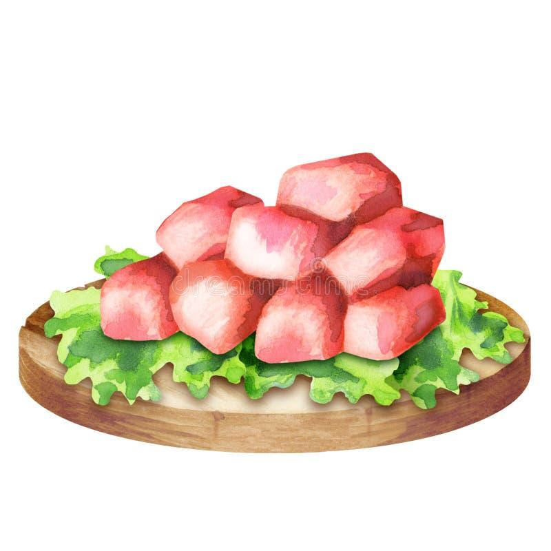 Ακατέργαστοι φρέσκοι κύβοι βόειου κρέατος με το μαρούλι σε ένα πιάτο ελεύθερη απεικόνιση δικαιώματος