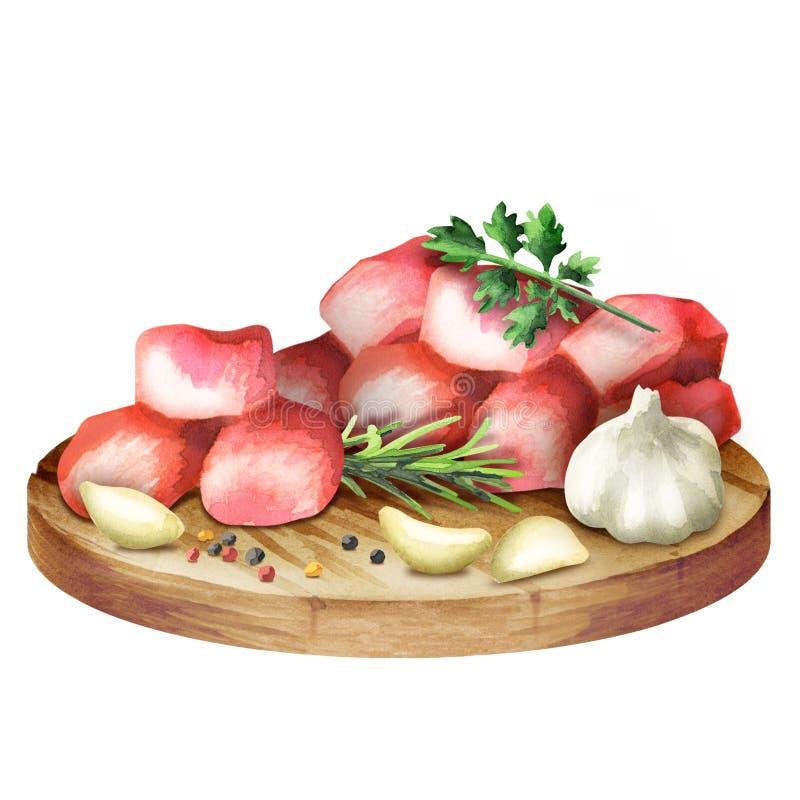 Ακατέργαστοι φρέσκοι πικάντικοι κύβοι βόειου κρέατος με τα χορτάρια και καρυκεύματα σε ένα πιάτο διανυσματική απεικόνιση