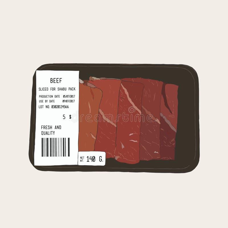 Ακατέργαστο κρέας βόειου κρέατος στη συσκευασία επίσης corel σύρετε το διάνυσμα απεικόνισης ελεύθερη απεικόνιση δικαιώματος