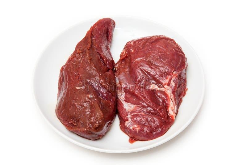 Ακατέργαστο κρέας καγκουρό στο πιάτο στοκ φωτογραφία με δικαίωμα ελεύθερης χρήσης