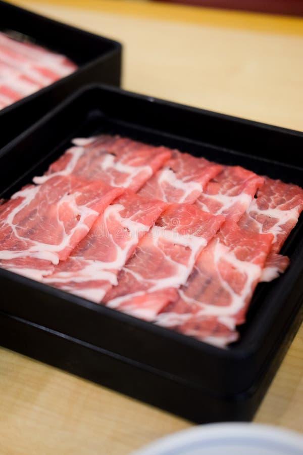 Ακατέργαστο πρόσφατα έτοιμο τεμαχισμένο βόειο κρέας για το καυτό δοχείο στοκ φωτογραφία με δικαίωμα ελεύθερης χρήσης
