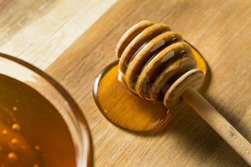 Ακατέργαστο σκοτεινό οργανικό μέλι φαγόπυρου στοκ φωτογραφίες
