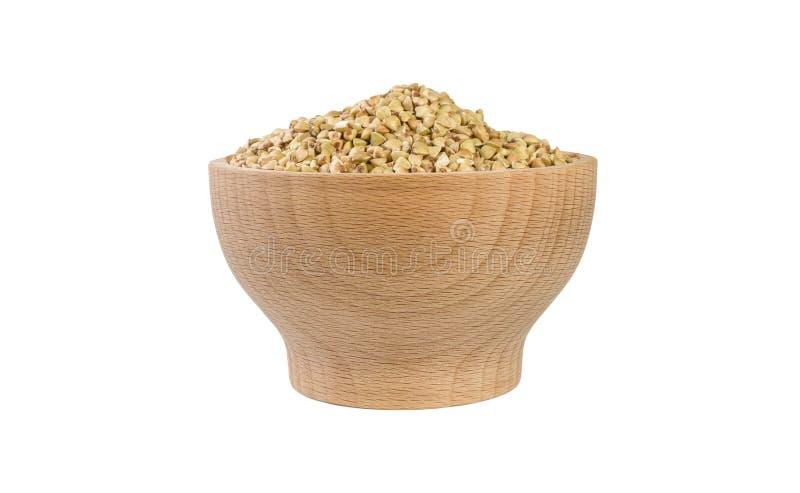 Ακατέργαστο φαγόπυρο στο ξύλινο κύπελλο που απομονώνεται στο άσπρο υπόβαθρο διατροφή συστατικό τροφίμων r στοκ φωτογραφίες με δικαίωμα ελεύθερης χρήσης