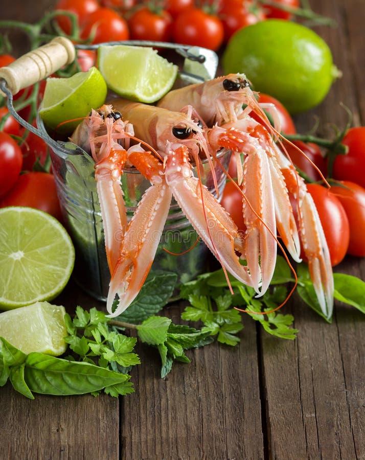 Ακατέργαστο langoustine σε έναν κάδο με τα λαχανικά και τα χορτάρια στοκ φωτογραφία