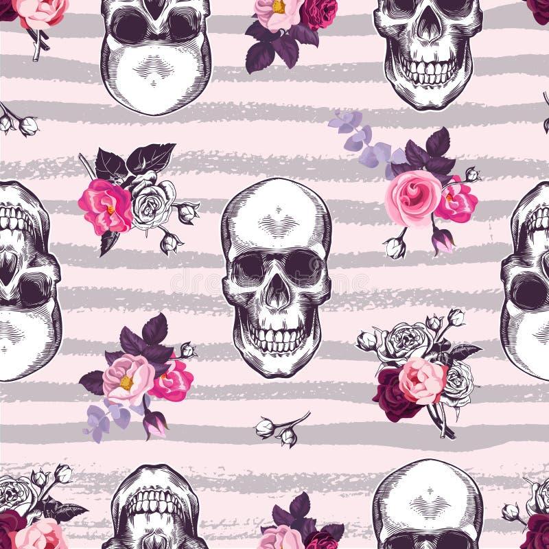 Ακαλαίσθητο άνευ ραφής σχέδιο με τα ανθρώπινα κρανία και τους μισό-χρωματισμένους οφθαλμούς των ροδαλών λουλουδιών στο ρόδινο κλί ελεύθερη απεικόνιση δικαιώματος