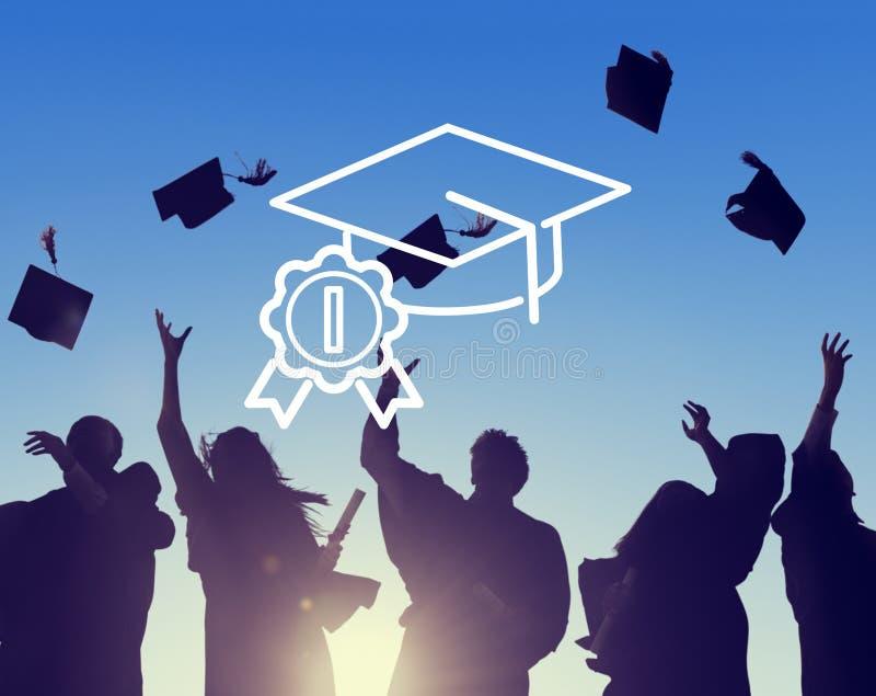 Ακαδημαϊκή βαθμολόγησης έννοια εκπαίδευσης καπέλων επιτυχής στοκ εικόνες