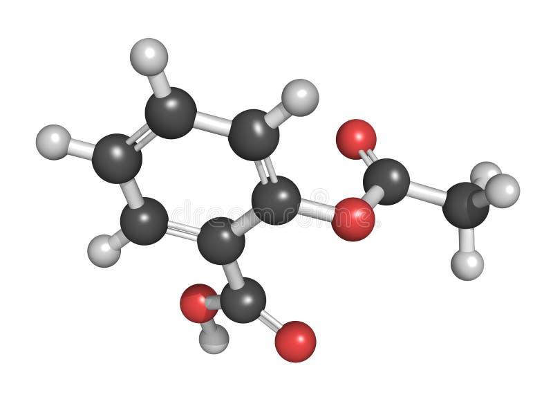Ακετυλσαλικυλικό όξινο μόριο φαρμάκων ανακούφισης πόνου (της aspirin), chemic ελεύθερη απεικόνιση δικαιώματος