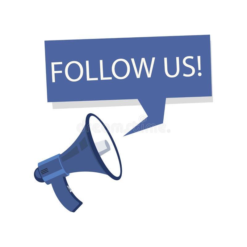 Ακολουθήστε μας απεικόνιση διανύσματος Ακολουθήστε μας σε πανό μέσων κοινωνικής δικτύωσης Μεγάφωνο και φυσαλίδα ομιλίας Ανακοίνωσ απεικόνιση αποθεμάτων
