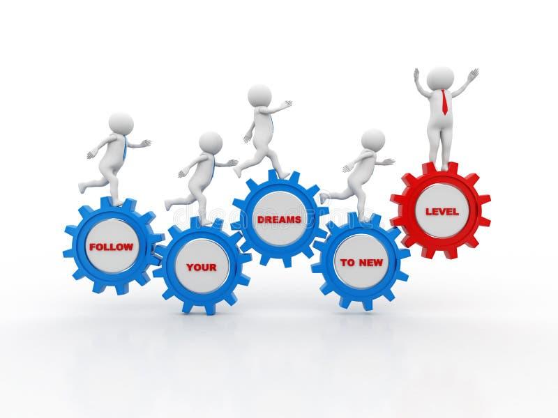 Ακολουθήστε τα όνειρά σας στο νέο επίπεδο, επιχειρηματίες που τρέχουν το εργαλείο τρισδιάστατος δώστε διανυσματική απεικόνιση