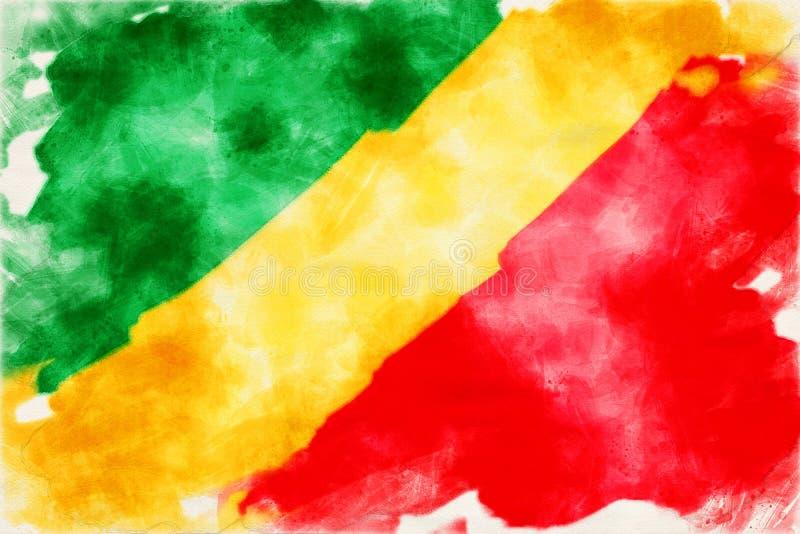 Ακουαρέλα της σημαίας του Κογκό ελεύθερη απεικόνιση δικαιώματος