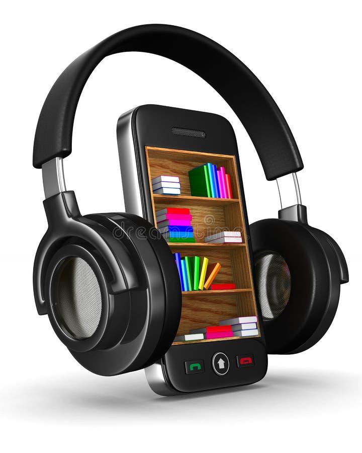 Ακουστικά βιβλία στο άσπρο υπόβαθρο στοκ εικόνες