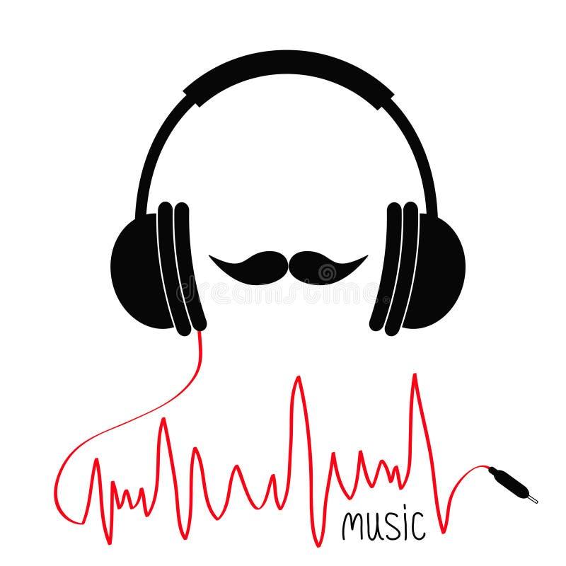 Ακουστικά με το κόκκινο σκοινί Κάρτα μουσικής Moustaches Επίπεδο άσπρο υπόβαθρο εικονιδίων σχεδίου ελεύθερη απεικόνιση δικαιώματος