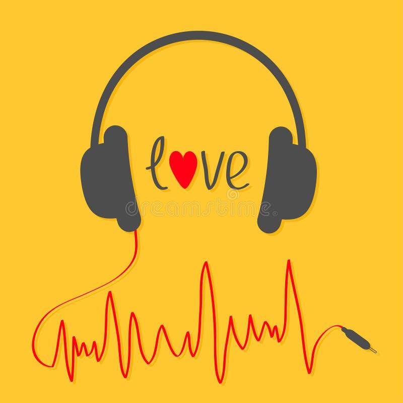 Ακουστικά με το κόκκινο σκοινί στη μορφή του trackline καρδιογραφημάτων έγγραφο αγάπης καρτών ανασκόπησης grunge Εικονίδιο μουσικ απεικόνιση αποθεμάτων