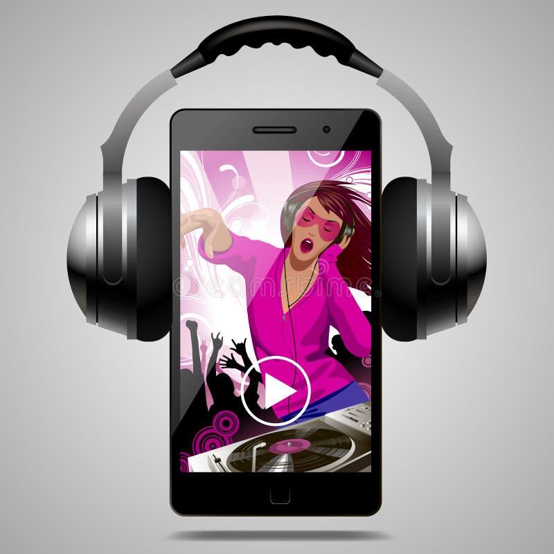 Ακουστικά με το σύγχρονο τηλέφωνο με το κορίτσι και τους ανθρώπους του DJ που χορεύουν ελεύθερη απεικόνιση δικαιώματος