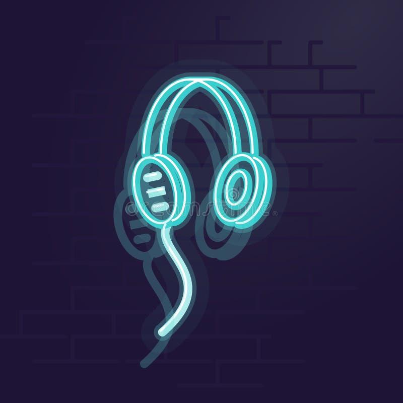 Ακουστικά νέου Φωτισμένο νύχτα σημάδι Γουώλ Στρητ Απομονωμένη γεωμετρική απεικόνιση ύφους στο υπόβαθρο τουβλότοιχος στοκ εικόνα με δικαίωμα ελεύθερης χρήσης