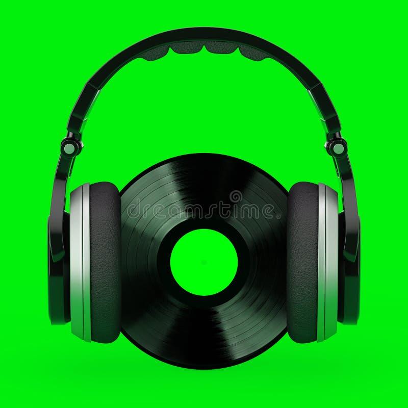 Ακουστικά πέρα από το μαύρο βινυλίου αρχείο με την άσπρη κενή ετικέτα r ελεύθερη απεικόνιση δικαιώματος