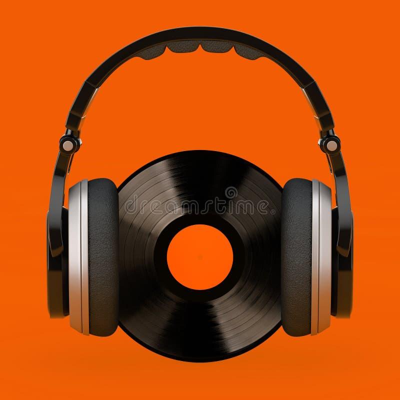 Ακουστικά πέρα από το μαύρο βινυλίου αρχείο με την άσπρη κενή ετικέτα r απεικόνιση αποθεμάτων