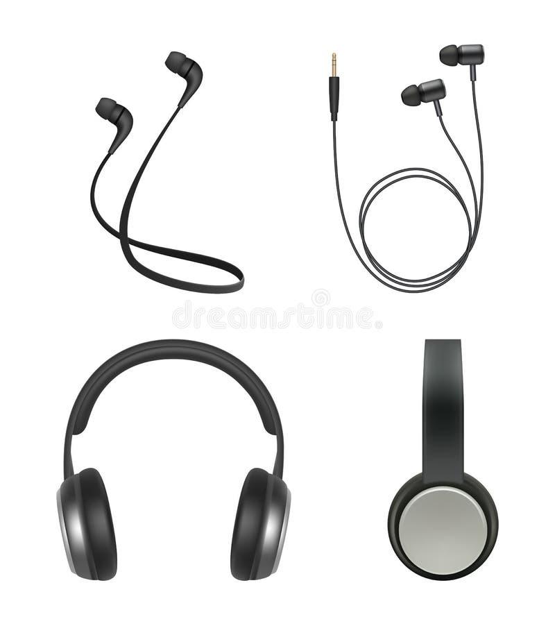Ακουστικά ρεαλιστικά Ακουστικών διανυσματική συλλογή στοιχείων μουσικής βοηθητική ηλεκτρονική ελεύθερη απεικόνιση δικαιώματος