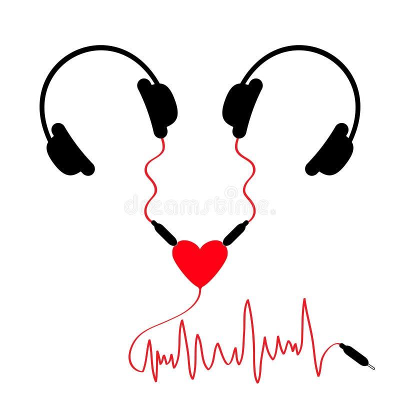 ακουστικά δύο Τα ακουστικά συνδέουν την ακουστική καρδιά προσαρμοστών θραυστών Κόκκινο σκοινί κυμάτων μουσικής Ευχετήρια κάρτα αγ διανυσματική απεικόνιση