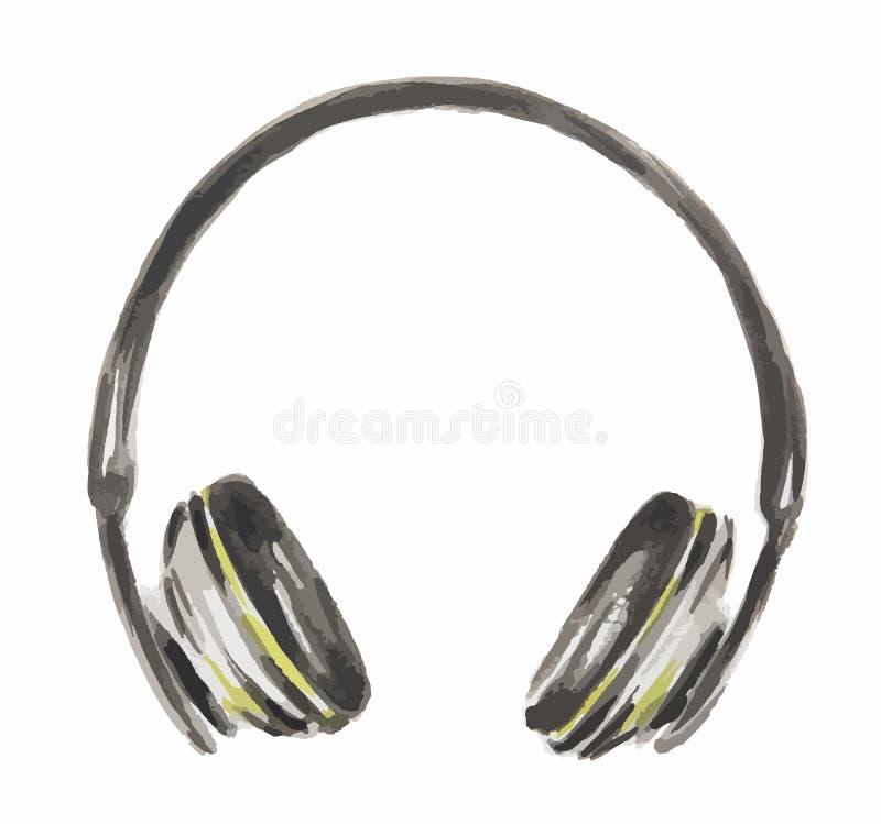 ακουστικά watercolor απεικόνιση αποθεμάτων