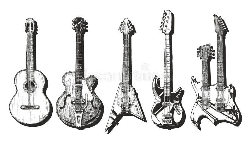 Ακουστικές και ηλεκτρικές κιθάρες καθορισμένες ελεύθερη απεικόνιση δικαιώματος