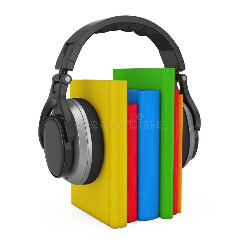 Ακουστική έννοια βιβλίων Μαύρα ασύρματα ακουστικά με τα βιβλία τρισδιάστατο ren διανυσματική απεικόνιση