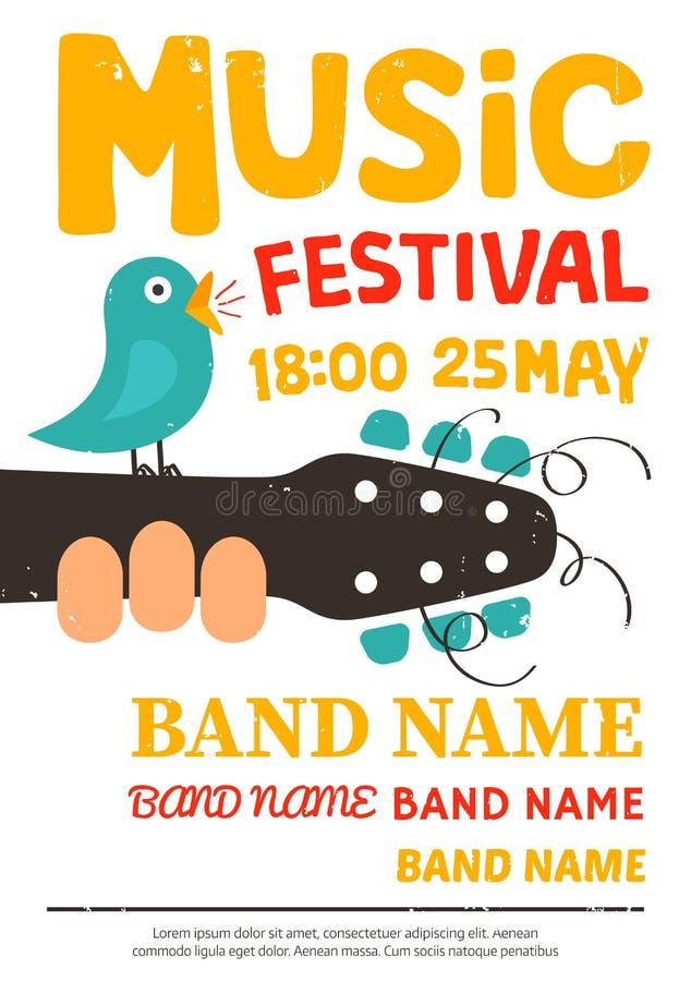 Ακουστική αφίσα φεστιβάλ μουσικής, ιπτάμενο με ένα τραγούδι πουλιών σε μια κιθάρα ελεύθερη απεικόνιση δικαιώματος