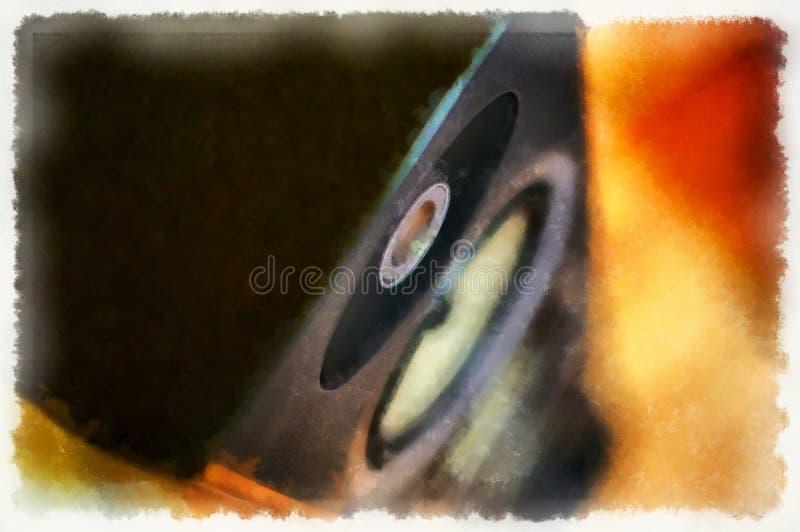 Ακουστική επίδραση χρώματος ομιλητών μουσικής κολάζ ζωγραφικής ακουαρελών υπολογιστών απεικόνιση αποθεμάτων