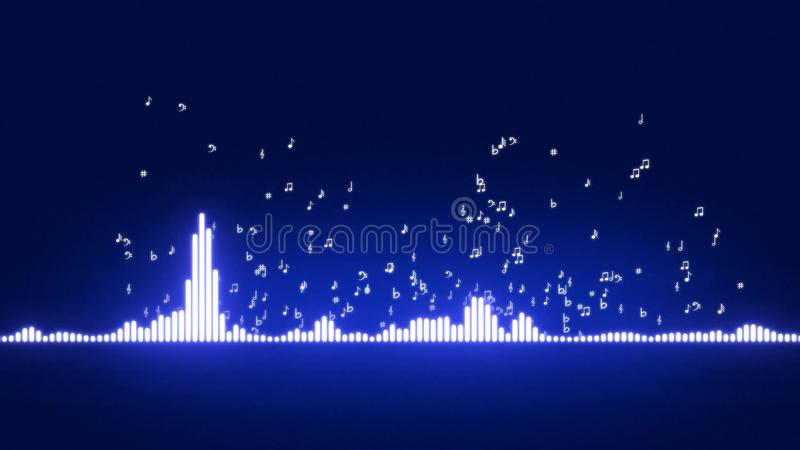 Ακουστική κίνηση φραγμών εξισωτών Επίπεδα ελέγχου μουσικής Μουσικές νότες που αναχωρούν από τον εξισωτή διανυσματική απεικόνιση