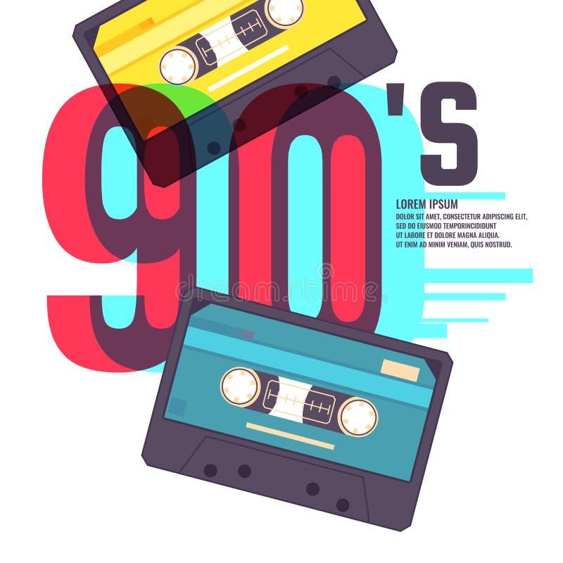 Ακουστική κασέτα στο κόκκινο υπόβαθρο Η αναδρομική δεκαετία του '90 μουσικής διανυσματική απεικόνιση
