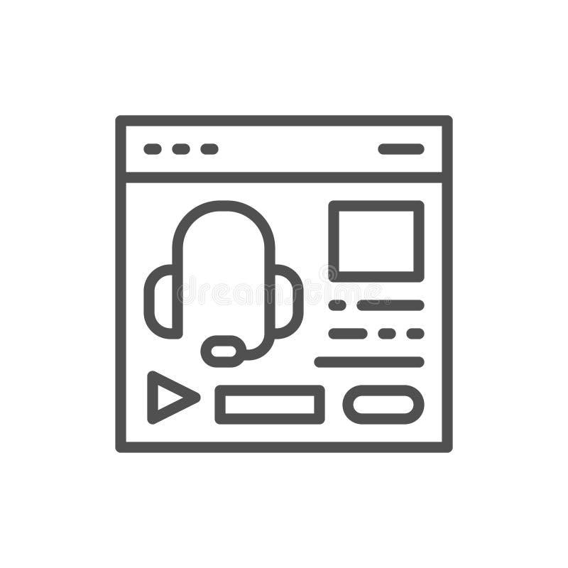Ακουστική σειρά μαθημάτων, podcast, ιστοχώρος εκπαίδευσης, εικονίδιο γραμμών ιστοσελίδας διανυσματική απεικόνιση