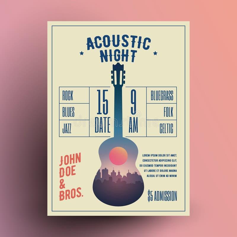 Ακουστικό αφίσα συναυλίας κόμματος νύχτας ζωντανής μουσικής κιθάρων ή ιπτάμενο ή πρότυπο εμβλημάτων επίσης corel σύρετε το διάνυσ απεικόνιση αποθεμάτων