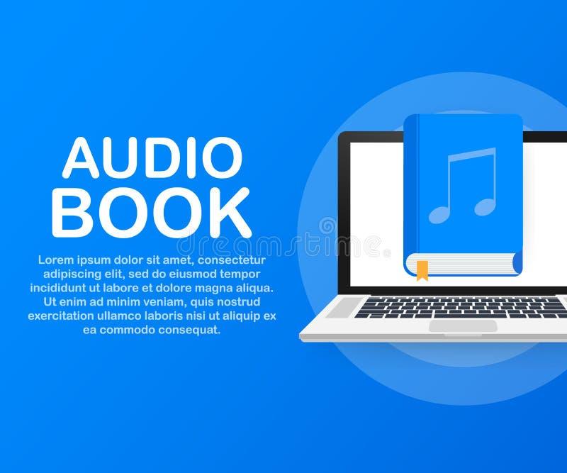 Ακουστικό βιβλίο έννοιας για ιστοσελίδας, έμβλημα, κοινωνικά μέσα επίσης corel σύρετε το διάνυσμα απεικόνισης απεικόνιση αποθεμάτων