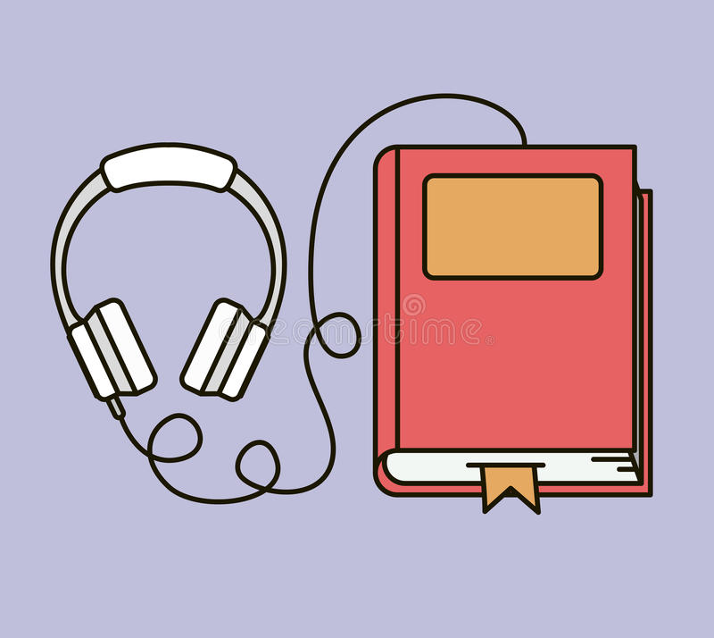 Ακουστικό εικονίδιο βιβλίων απεικόνιση αποθεμάτων
