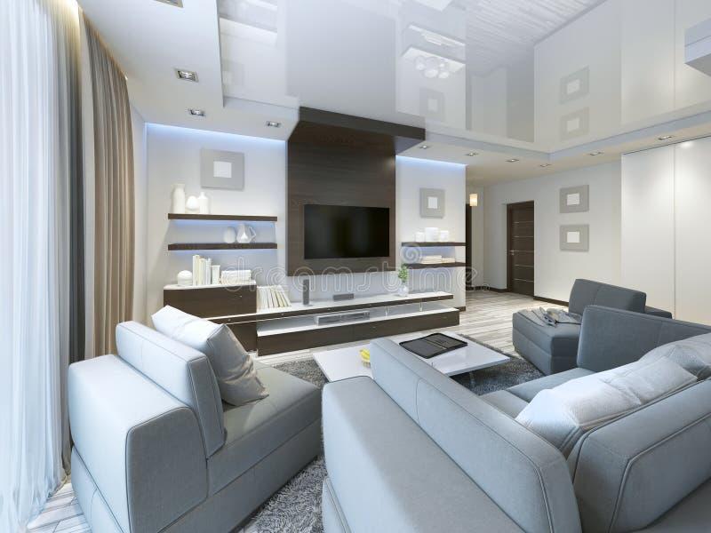 Ακουστικό σύστημα με τη TV και ράφια στο σύγχρονο καθιστικών διανυσματική απεικόνιση