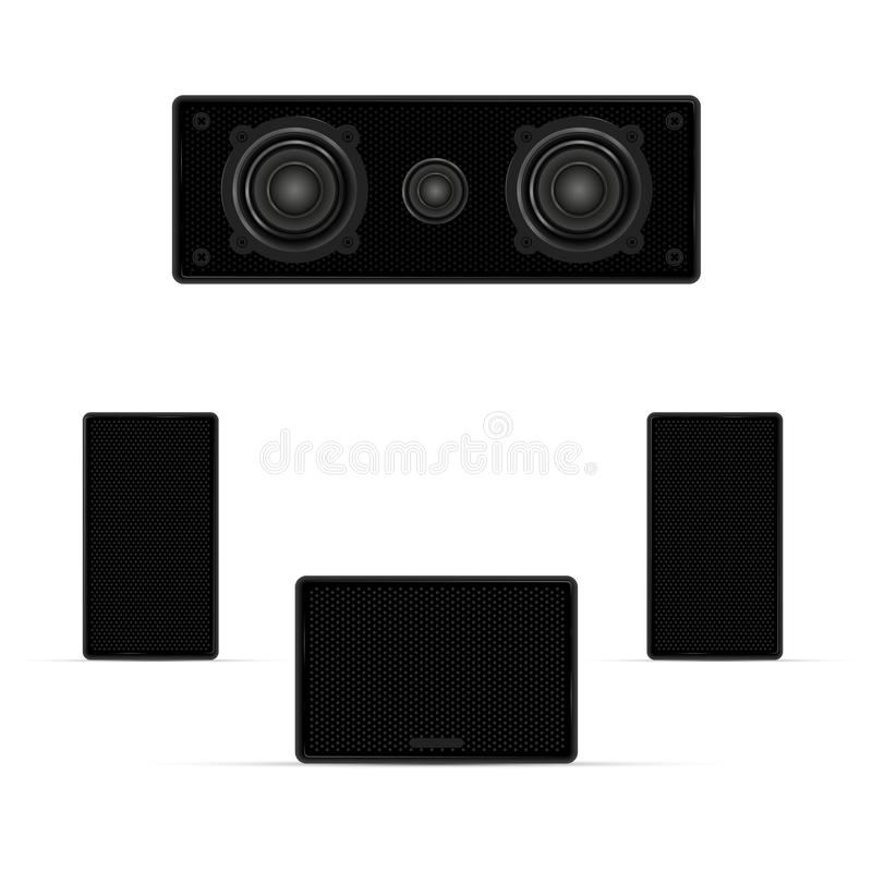 Ακουστικό σύστημα, μουσικές στήλες, μεγάφωνα και Subwoofer Ρεαλιστική διανυσματική απεικόνιση διανυσματική απεικόνιση