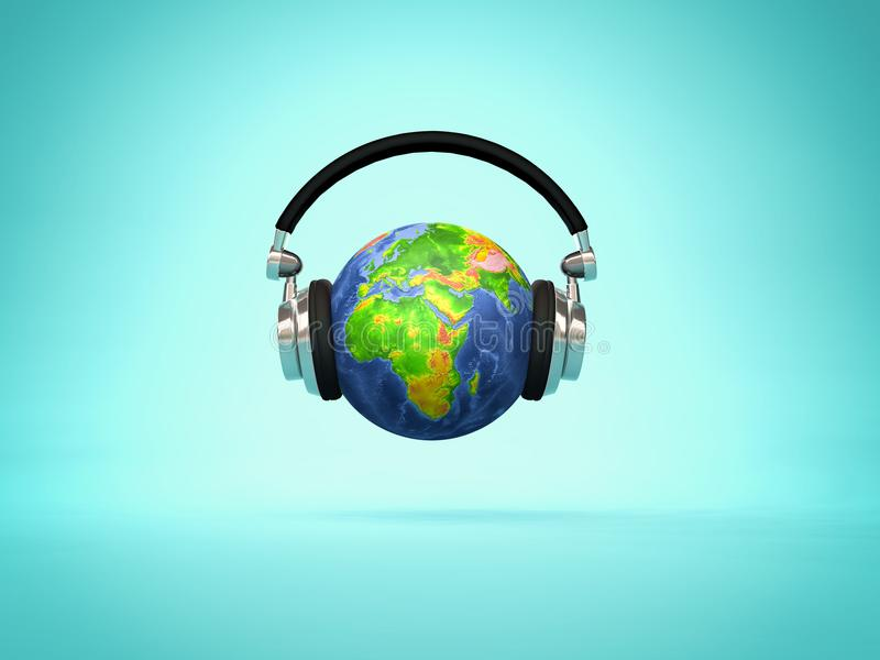 Ακούοντας ο κόσμος διανυσματική απεικόνιση