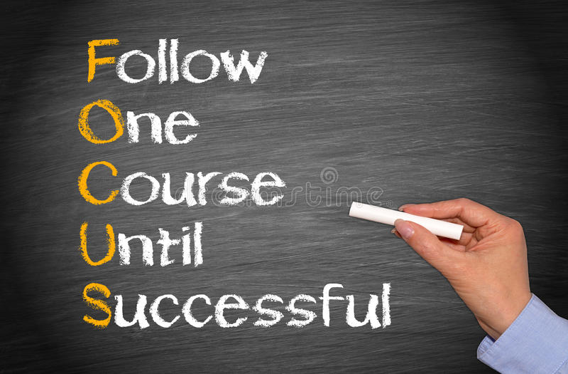 Ακολουθήστε μια σειρά μαθημάτων μέχρι επιτυχή στοκ εικόνα