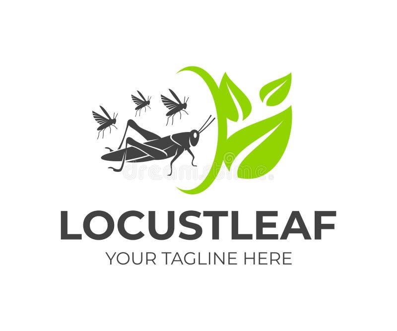 Ακρίδα και κοπάδι grasshoppers με τα φύλλα και την περιστροφή, σχέδιο λογότυπων Γεωργία και γεωργικός, αγρόκτημα και καλλιέργεια, διανυσματική απεικόνιση