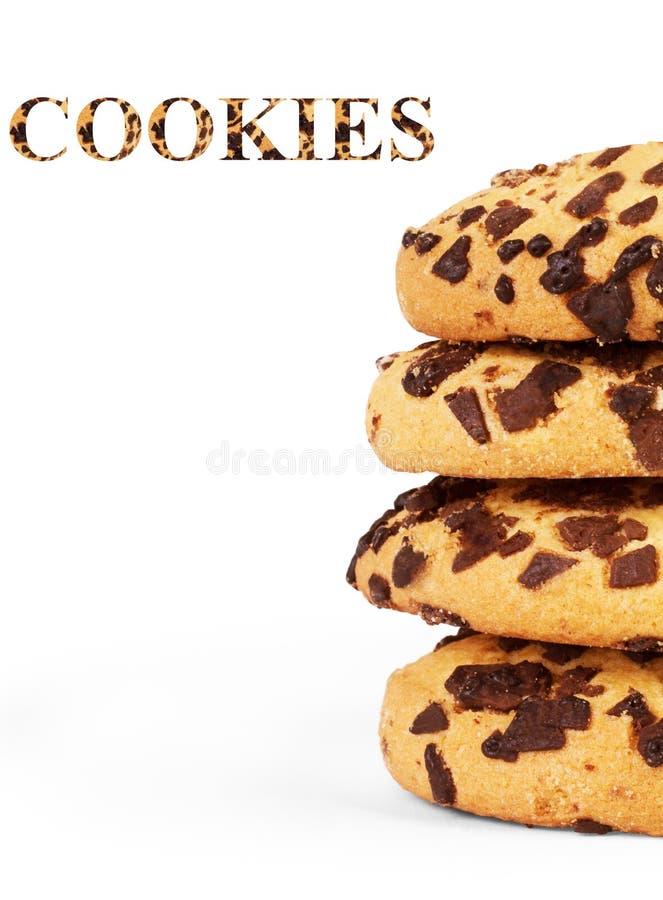 Ακραία εικόνα κινηματογραφήσεων σε πρώτο πλάνο των μπισκότων τσιπ σοκολάτας στοκ εικόνα