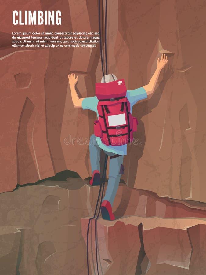 ακραίος αθλητισμός Αναρρίχηση του βουνού αναρρίχηση των σχοινιών δύο βράχου καλημάνων Άτομο με την αναρρίχηση του εργαλείου ελεύθερη απεικόνιση δικαιώματος
