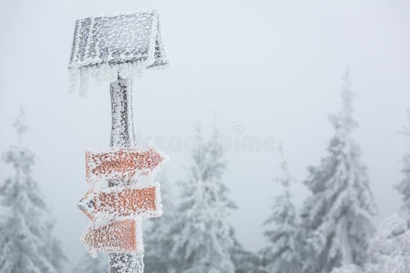 Ακραίος καιρός - σημάδι πορειών πεζοπορίας που καλύπτεται χειμερινός με το χιόνι στοκ εικόνα