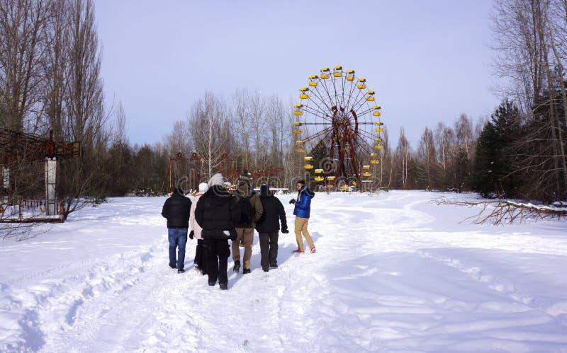 Ακραίος τουρισμός στο Τσέρνομπιλ στοκ φωτογραφία