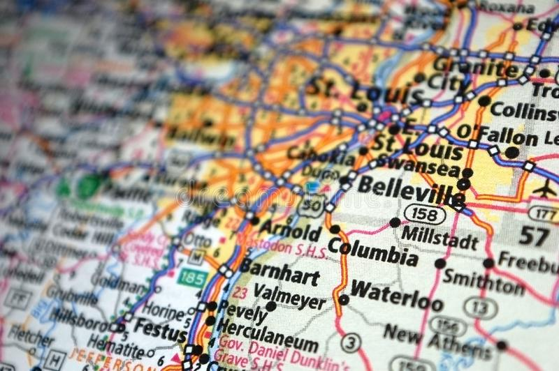 Ακραίο κοντινό πλάνο του Belleville, Missouri σε ένα χάρτη στοκ φωτογραφία με δικαίωμα ελεύθερης χρήσης