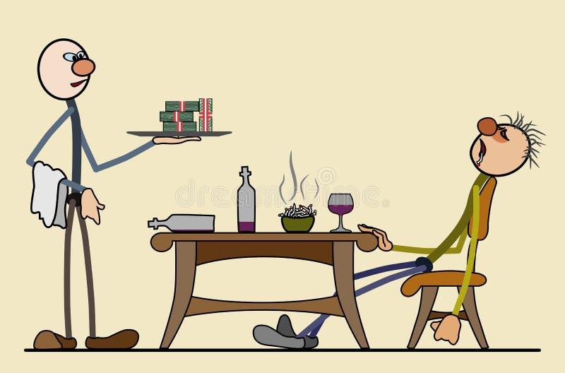 Ακριβό εστιατόριο - ένας πλούσιος πελάτης έπεσε κοιμισμένος απεικόνιση αποθεμάτων