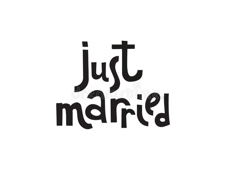 Ακριβώς παντρεμένα πρότυπα, ετικέτες, κάρτα Γαμήλια πρόσκληση με συρμένη τη χέρι εγγραφή στο απλό ύφος, απομονωμένο γραπτό qoute απεικόνιση αποθεμάτων