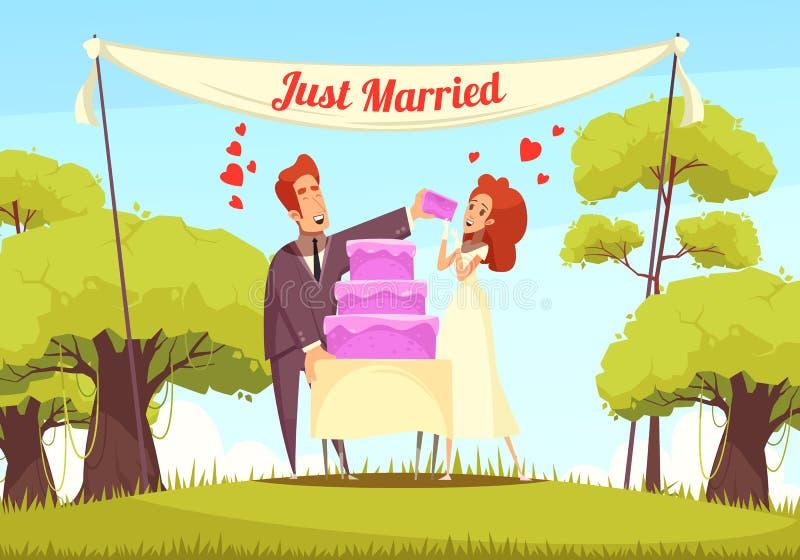 Ακριβώς παντρεμένη απεικόνιση κινούμενων σχεδίων ελεύθερη απεικόνιση δικαιώματος