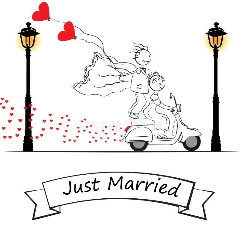 Ακριβώς παντρεμένη μοτοσικλέτα κινούμενων σχεδίων διανυσματική απεικόνιση